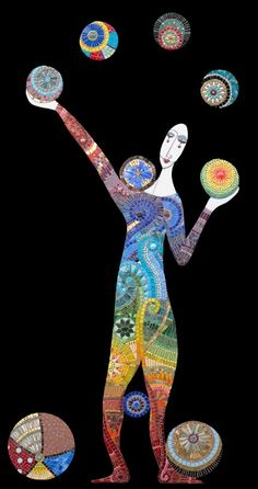 "Juggler | Irina Charny Mosaics.  Juggler  30"" x 55""  glass, porcelain, millefiori, gold, beads  2005"
