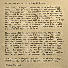 To the one who falls in love with me, good luck. Typewriter poem by Amanda Torroni