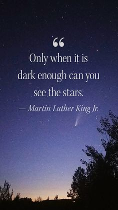 """""""Only when it is dark enough can you see the stars."""" --Martin Luther King, Jr."""