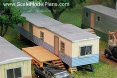 1950's trailer home model train structure