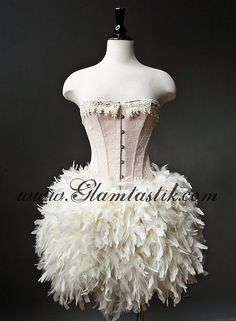Custom Size Peach and Ivory Burlesque Feather Corset by Glamtastik.  Wonder how hard it is to make the feather tutu