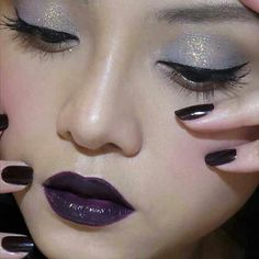 I dont think I could carry off this look! but I love the purple lips... use precision pencil & mineral pigments from YOUnique to recreate this look.