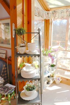 french-style-plant-stand-with-white-dishes shared at katherines corner