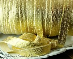 Metallic Gold Tribal Fold Over Elastic   by HairbowSuppliesEtc