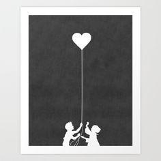 Love Balloon monochrome Art Print by Budi Satria Kwan - $19.97