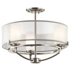 Kichler 3 Light Convertible Chandelier / Semi-Flush Ceiling Fixture from the Saldana Collection- 18 Inches Wide - Classic Pewter Primary Image