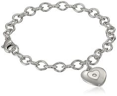 """Sterling Silver Pre-Teen Diamond Stamped Heart Charm Bracelet, 6.75"""" >>> See this awesome image @ http://www.amazon.com/gp/product/B002DW9CA2/?tag=ilikeboutique09-20&tu=260716202629"""