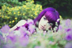 lila magenta violet pink long hair