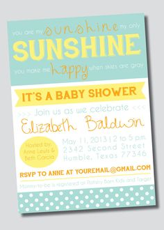 "A ""You are My Sunshine"" baby shower would be such a cute summer shower theme and this invitation would be perfect! On sale now in my shop! Customizable You Are My Sunshine Baby Shower by SweetGreetsDesigns, $15.00"