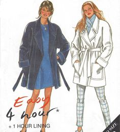 90s Easy Womens Lined Wrap Coat New Look Sewing by CloesCloset