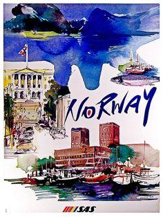 Norway Travel Poster Norwegian Art Home Decor by Blivingstons
