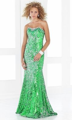 Green Mermaid/Trumpet Strapless Long/Floor-length Sparkly Prom Dress PD2E37