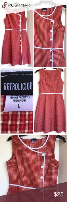 """Retrolicious ModCloth red and white plaid dress L Retrolicious Red Beige White Plaid Dress. Pinup style Modcloth 1950s Retro Rockabilly!  So cute!!  Great condition.    Size L (runs small, see measurements below)   Measurements:  Bust: 36""""  Waist: 28""""-30""""  Hips: 45""""  Total length: 37"""" Modcloth Dresses Mini"""