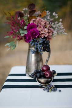 Purple Flowers and Berries on Black and White Striped Runner