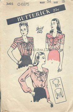 Vintage 1940s Bow Neckline Blouse Pattern...Button by sydcam123, $22.00