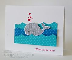 Hand stamped card, Oh Whale stamp set