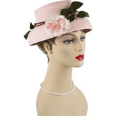 Vintage 1950s French Hat Pale Pink Mushroom Style Straw w/ Rose Albouy Paris by Lessere Authentic Reproduction Sz 22