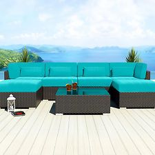 Modern Patio Rattan/Wicker Set Outdoor All Weather Sectional Sofa Furniture 7C