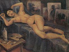 Nu Feminino Deitado em Ateliê 1958 | Antonio Gomide óleo sobre tela 46.20 x 61.00 cm