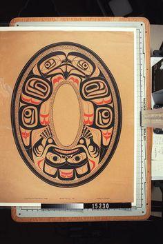"""HAIDA. ARGILLITE PLATE DESIGN - EAGLE"". ALSO MARKED ON THE PRINT IS ""CHARLES EDENSAW 1880 PRINT VIN RICKARD"".- Royal BC Museum"