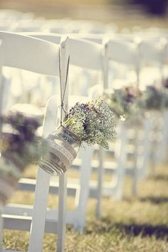 Country Chic Burlap & Lace DIY Wedding | Confetti Daydreams - Hanging mason jars wrapped in burlap and lace and filled with flowers ♥  attn. Michelle