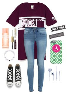 """""""Today was my last day of school! Now I won't be going back until August!"""" by one-of-those-nights ❤ liked on Polyvore featuring Victoria's Secret PINK, tarte and Converse"""