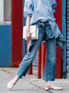 Editorial-RINA FUKUSHI-#CURRENT | ZARA 대한민국 Blue Shirt Outfits, Denim Outfit, Jeans Style, Shirt Style, Denim Fashion, Street Fashion, Women's Fashion, Estilo Denim, Looks Style