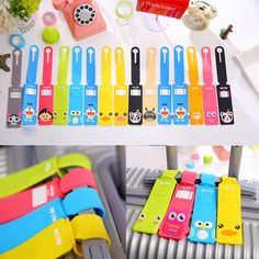 Silicone Cartoon Travel Luggage Tags Name Address Baggage Suitcase Bag Labels