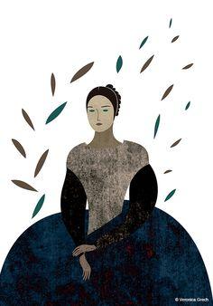 ☼ Emily Dickinson ☼  Veronica Grech illustration. Emily Dickinson portrait