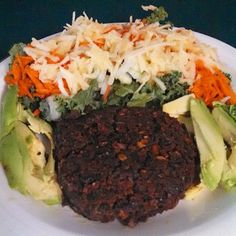 #Lunch Homemade #Vegan Burger with avocado plus a kale carrot onion apple #Salad #foodie #healthyoptions #fitfuel