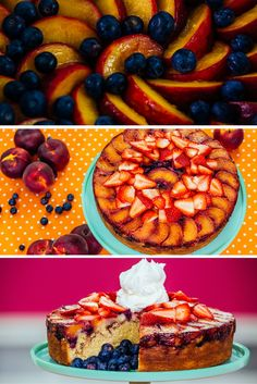 The hardest part is making sure the fruit actually makes it into the cake! This is my recipe for a warm, easy-to-bake peach blueberry upside down cake. #Baking #Dessert