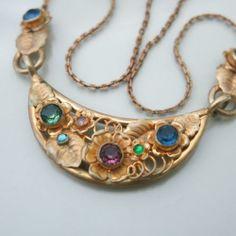 Vtg Art Deco Czech Glass Neiger Flower Pendant Necklace | eBay