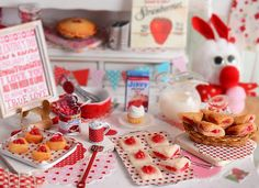 Miniature Valentine Cherry Pastry Set by CuteinMiniature on Etsy