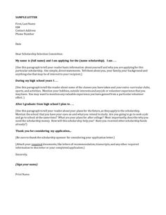 cover letter for a scholarship