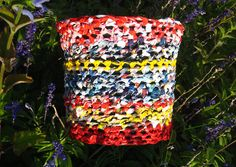 Planter with plarn coat flower pot recycled by haubenmeise on Etsy, Plastic Bag Crochet, Flower Pots, Flowers, Upcycle, Recycling, Planters, Coat, Bags, Etsy
