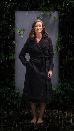 BRGN by Lunde & Gaundal, El Coat, Caviar Black. Caviar, Wrap Dress, Raincoat, Lifestyle, How To Wear, Black, Dresses, Fashion, Rain Jacket