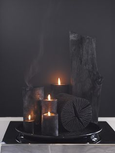 Black candles and charcoal
