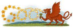 Google Doodle celebrating St David's Day on 1 March 2013
