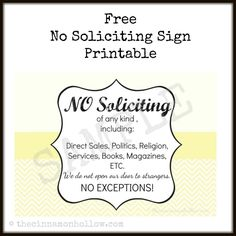 Blog post at Cinnamon Hollow Reviews : This is the time of year that solicitors love to come knocking on my door and it drives me crazy, so I created a free printable no solicitin[..]