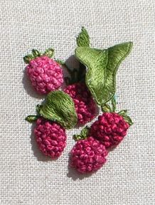 Raspberries - a Stumpwork Embroidery by Luan B. Callery