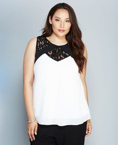 <p>Keep it chic this summer in this black and white stunner! It features a flowy, sheer chiffon body, sheer floral lace along the neckline, soft gathering at the bust, and a cute keyhole back.</p>  <p>Model wears a size 1X.</p>  <ul> 	<li>Scoop Neckline</li> 	<li>Single Button Closure</li> 	<li>Sleeveless</li> 	<li>Partially Lined</li> 	<li>Polyester</li> 	<li>Machine Wash</li> 	<li>Imported</li> </ul>