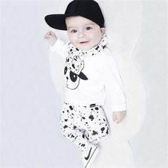 890137e45ee 2017 new autumn baby boys girls clothes cotton long sleeve white panda t- shirts+