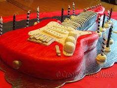 The Creative Cake Maker: Rock 'N Roll Electric Guitar Birthday Cake