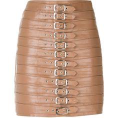 Manokhi belt embellished short skirt (€700) ❤ liked on Polyvore featuring skirts, mini skirts, beige, mini skirt, high waisted leather skirt, short skirts, high-waisted skirts and straight skirt