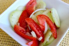 Here& a super simple, fresh, nutritious and affordable salad that you can put together in just minutes. This delish Cucumber, Tomato, and Onion Salad only cost Tomatoe Cucumber Onion Salad, Marijuana Recipes, Cooking Recipes, Healthy Recipes, Delicious Recipes, Salad Dishes, Healthy Eating, Healthy Food, Healthy Meals