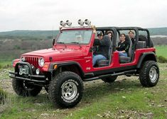 It's a stretched Jeep. 4 bucket seats and a bench in the back.  I think the custom company is in Tennessee.