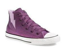 I wantz! CONVERSE Kids' All Star Sparkle Boltz Hi Preschool/Grade School (Purple 1.0 M)