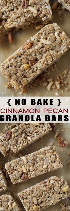 No Bake Cinnamon Pecan Granola Bars combine whole grain rolled oats, crunchy brown rice krispies, pecans and cinnamon to make a sweet wholesome snack that are great for a lunch box or on the run, meal option!