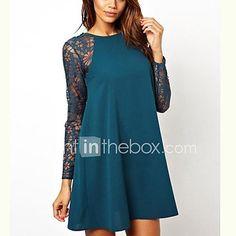 Women's Fashion Sexy Hot Lace Stitching Round Collar Dress de 2017 por R$33.87