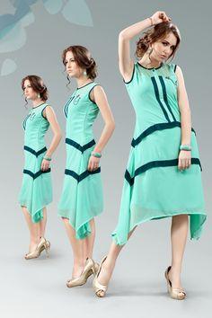 Green stylish evening wear georgette kurtis and tunics 6939